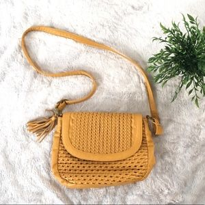 Urban outfitters • Ecote Mustard woven cross purse